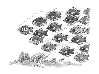 Leader of a school of fish is labelled CEO. - New Yorker Cartoon Giclee Print by Joseph Farris