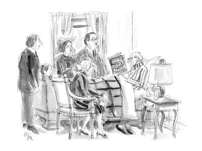 People gathered around death-bed while dying man reads 'How to Avoid Proba… - New Yorker Cartoon Giclee Print by Everett Opie