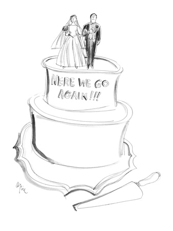 Bride and groom atop a wedding cake that reads, 'Here We Go Again.' - New Yorker Cartoon Giclee Print by Everett Opie