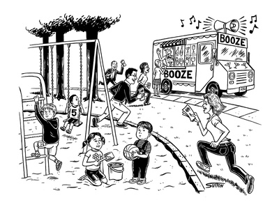 Booze mobile - New Yorker Cartoon Giclee Print by Ward Sutton