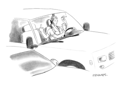 A Hindu god with six arms multi-tasks while driving. - New Yorker Cartoon Giclee Print by Pat Byrnes