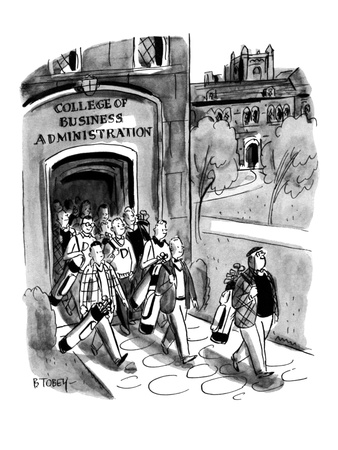 Students leaving campus of the College of Business Administration are all … - New Yorker Cartoon Giclee Print by Barney Tobey