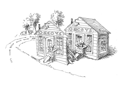 Decoy of a decoy store with a person relaxing, with the real decoy store a… - Cartoon Giclee Print by John O'brien