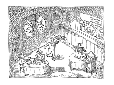 Restaurant scene:  Waiter carrying tray of fish; behind kitchen doors are … - Cartoon Giclee Print by John O'brien