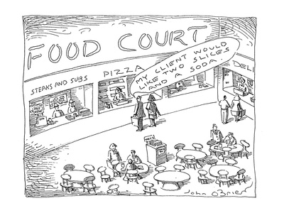 Food Court - Cartoon Giclee Print by John O'brien