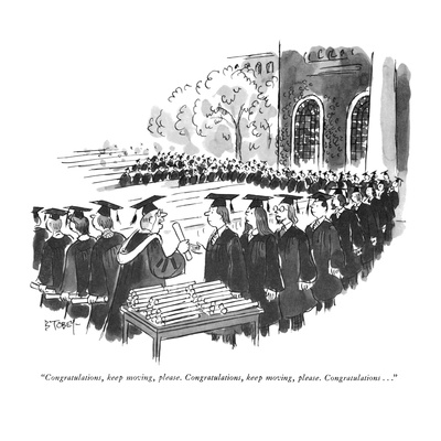 """Congratulations, keep moving, please.  Congratulations, keep moving, plea…"" - New Yorker Cartoon Giclee Print by Barney Tobey"