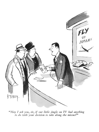 """May I ask you, sir, if our little jingle on TV had anything to do with yo…"" - New Yorker Cartoon Giclee Print by Barney Tobey"