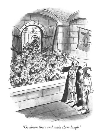 """Go down there and make them laugh."" - New Yorker Cartoon Giclee Print by Barney Tobey"