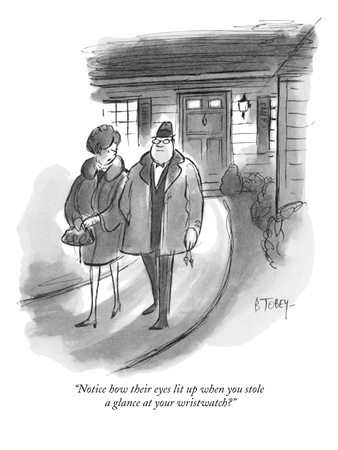 """Notice how their eyes lit up when you stole a glance at your wristwatch"" - New Yorker Cartoon Giclee Print by Barney Tobey"