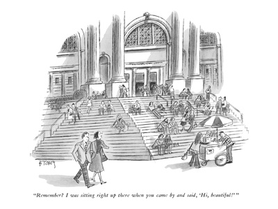 """Remember I was sitting right up there when you came by and said, 'Hi, be… - New Yorker Cartoon Giclee Print by Barney Tobey"