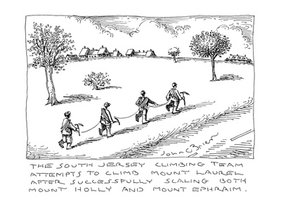 The South Jersey Climbing Team attempts to climb Mount Laurel after succes… - Cartoon Giclee Print by John O'brien