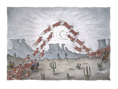herd of cattle jumps over the moon - Cartoon Giclee Print by John O'brien