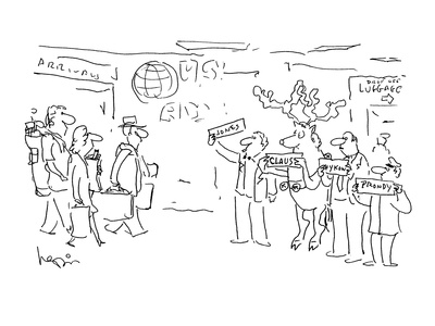 Raindeer waiting at airport holding 'Claus' sign with other drivers. - Cartoon Giclee Print by Arnie Levin