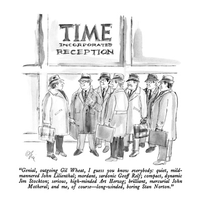 """Genial, outgoing Gil Wheat, I guess you know everybody: quite, mild-manne…"" - New Yorker Cartoon Giclee Print by Everett Opie"