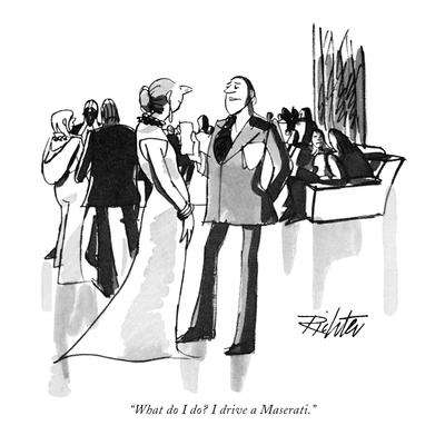 """What do I do I drive a Maserati."" - New Yorker Cartoon Giclee Print by Mischa Richter"