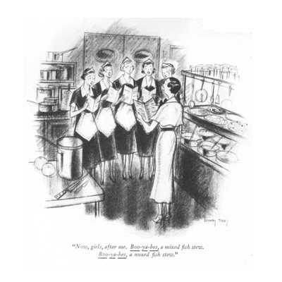 """Now, girls, after me. Boo-ya-bes, a mixed fish stew. Boo-ya-bes, a mixed..."" - New Yorker Cartoon Giclee Print by Barney Tobey"