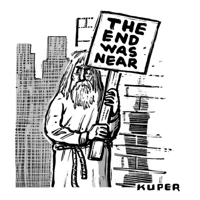 An old prophet-figure stands at a street corner, holding a sign that reads… - New Yorker Cartoon Giclee Print by Peter Kuper