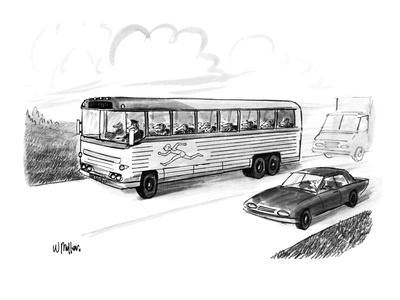 Bus filled with Greyhound dogs, with the logo of a running man. - New Yorker Cartoon Giclee Print by Warren Miller