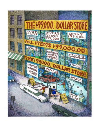 The $99,000 Dollar Store - Cartoon Giclee Print by John O'brien