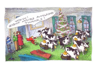 Christmas Gifts - Cartoon Giclee Print by John O'brien