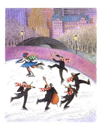 Ice skating band - Cartoon Giclee Print by John O'brien
