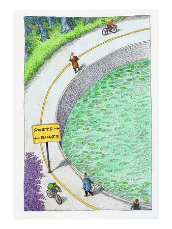 bike lane and poet lane. - Cartoon Giclee Print by John O'brien