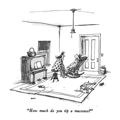 """How much do you tip a masseuse"" - New Yorker Cartoon Giclee Print by George Booth"