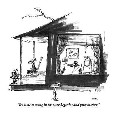 """It's time to bring in the wax begonias and your mother."" - New Yorker Cartoon Giclee Print by George Booth"