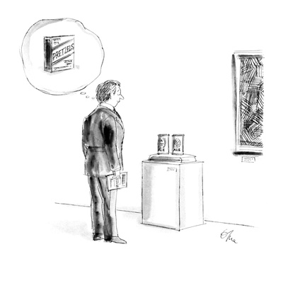 Man looking at pop art sculpture of two cans of beer, and is thinking abou… - New Yorker Cartoon Giclee Print by Everett Opie