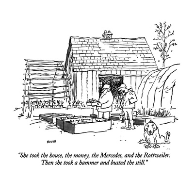 """She took the house, the money, the  Mercedes, and the Rottweiler.  Then s…"" - New Yorker Cartoon Giclee Print by George Booth"