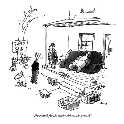 """How much for the couch without the potato"" - New Yorker Cartoon Giclee Print by George Booth"