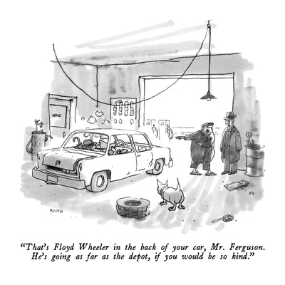 """That's Floyd Wheeler in the back of your car, Mr. Ferguson.  He's going a…"" - New Yorker Cartoon Giclee Print by George Booth"