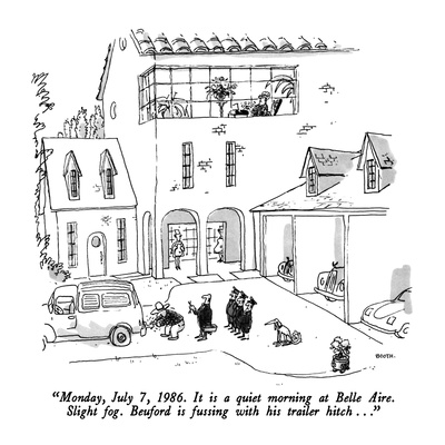 """""""Monday, July 7, 1986. It is a quiet morning at Belle Aire.  Slight fog.  …"""" - New Yorker Cartoon Giclee Print by George Booth"""