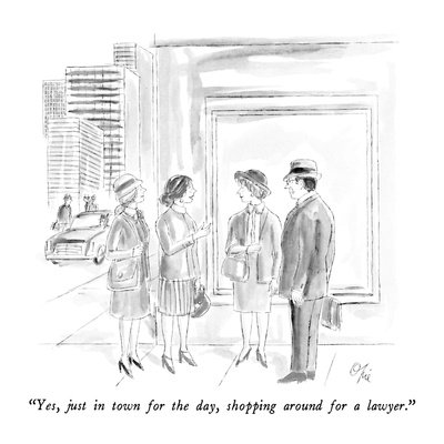 """Yes, just in town for the day, shopping around for a lawyer."" - New Yorker Cartoon Giclee Print by Everett Opie"