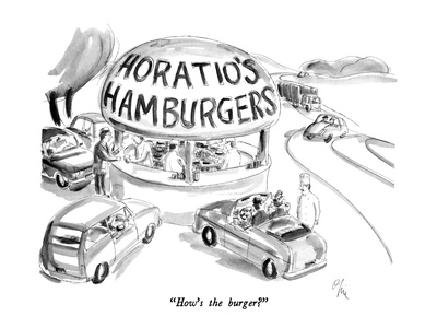 """How's the burger"" - New Yorker Cartoon Giclee Print by Everett Opie"