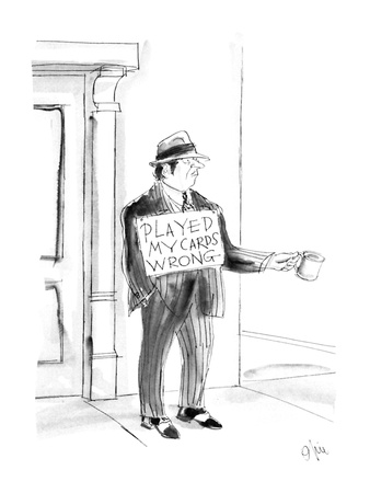 "Man dressed in fancy suit as a gambler would wear holds out a mug and carr…"" - New Yorker Cartoon Giclee Print by Everett Opie"