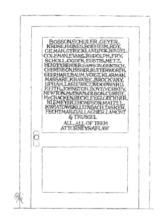 Typical law office door,but with 57 partners listed on the glass, ending w… - New Yorker Cartoon Giclee Print by Everett Opie