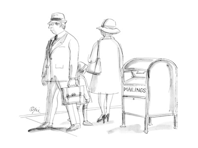 "Mail box with sign ""Mailings"" on it. - New Yorker Cartoon Giclee Print by Everett Opie"