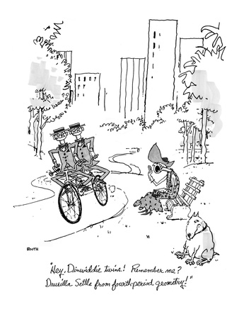 """""""Hey, Dinwiddie twins!  Remember me Drusilla Settle from fourth-period ge…"""" - New Yorker Cartoon Giclee Print by George Booth"""