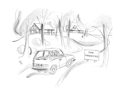 "Car passes sign by small houses ""The Amenities"". - New Yorker Cartoon Giclee Print by Everett Opie"