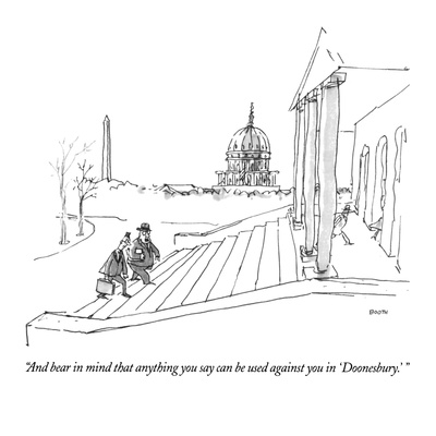 """""""And bear in mind that anything you say can be used against you in 'Doones…"""" - New Yorker Cartoon Giclee Print by George Booth"""