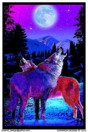 Timberwolves Flocked Blacklight Poster Posters