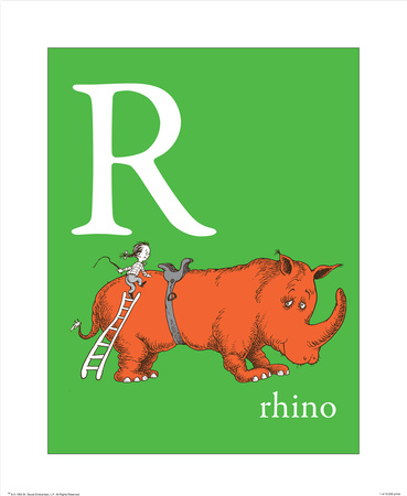 R is for Rhino (green) Poster af Theodor (Dr. Seuss) Geisel
