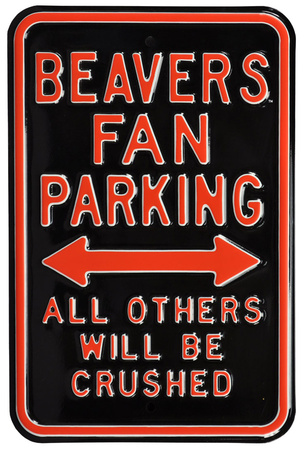 Beavers Crushed Parking Steel Sign Wall Sign