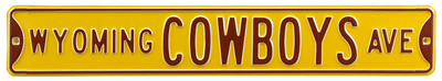 Wyoming Cowboys Ave Yellow Steel Sign Wall Sign