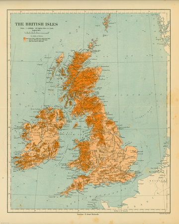 Map of the British Isles Poster by  The Vintage Collection