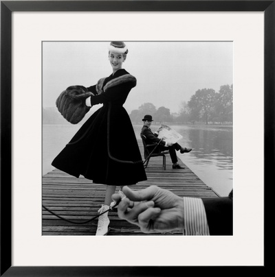 Skater in a Digby Morton Fur Trimmed Velvet Coat and Michael Bentley in the Background, 1955 Framed Giclee Print by John French