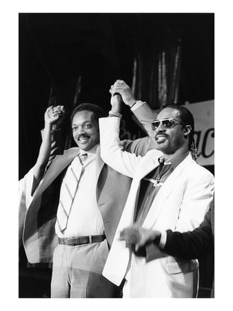 Jesse Jackson and Stevie Wonder Photographic Print by Michael Cheers