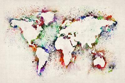 Map of the World Paint Splashes Stretched Canvas Print by Michael Tompsett