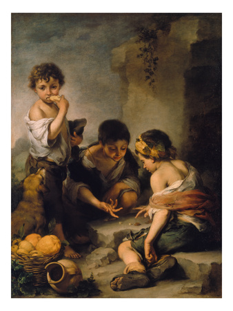 Urchins Playing Dice, about 1670/1675 Giclee Print by Bartolomé Estéban Murillo